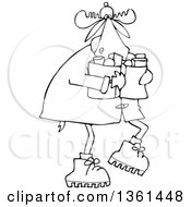 Clipart Of A Cartoon Black And White Lineart Winter Moose Carrying Groceries Royalty Free Vector Illustration