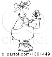 Cartoon Black And White Lineart Moose Gardener Holding A Potted Flower