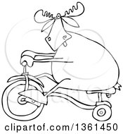 Clipart Of A Cartoon Black And White Lineart Moose Riding A Tricycle Royalty Free Vector Illustration