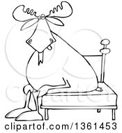 Clipart Of A Cartoon Black And White Lineart Tired Moose Sitting On A Bed Royalty Free Vector Illustration