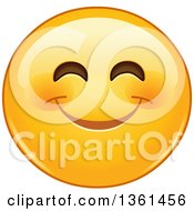 Clipart Of A Cartoon Yellow Smiley Face Emoji Smizing Royalty Free Vector Illustration