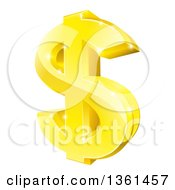 Clipart Of A 3d Sparkly Gold Dollar Currency Symbol Royalty Free Vector Illustration