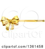 Clipart Of A 3d Perfect Gold Christmas Birthday Or Other Holiday Bow And Ribbon On A Gift Over Shaded White Royalty Free Vector Illustration