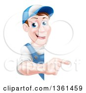 Clipart Of A Happy Middle Aged Brunette Caucasian Mechanic Man In Blue Wearing A Baseball Cap Pointing Around A Sign Royalty Free Vector Illustration