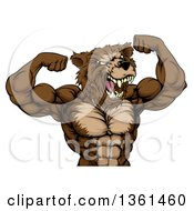 Clipart Of A Angry Buff Muscular Grizzly Bear Man Flexing His Muscles From The Waist Up Royalty Free Vector Illustration by AtStockIllustration
