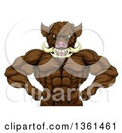 Clipart Of A Tough Razorback Boar Man Flexing His Muscles From The Waist Up Royalty Free Vector Illustration