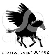 Clipart Of A Black Silhouetted Rearing Winged Pegasus Horse Royalty Free Vector Illustration