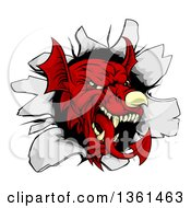 Clipart Of A Fierce Red Welsh Dragon Mascot Head Breaking Through A Wall Royalty Free Vector Illustration
