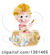 Clipart Of A Happy Blond Caucasian Boy Making Frosting And Baking Cookies Royalty Free Vector Illustration by AtStockIllustration