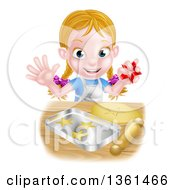 Clipart Of A Happy Blond Caucasian Girl Baking Cookies And Holding A Cutter Royalty Free Vector Illustration by AtStockIllustration