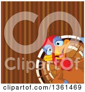 Cute Happy Thanksgiving Turkey Bird Peeking In The Lower Corner Of A Brown Stripe Background