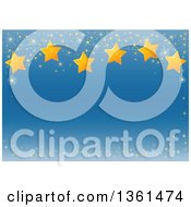 Clipart Of A Blue Christmas Background Bordered With Sparkles And Stars Royalty Free Vector Illustration