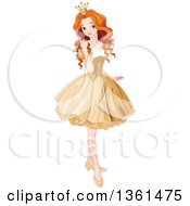 Clipart Of A Pretty Red Haired Caucasian Princess Posing In A Short Golden Dress Royalty Free Vector Illustration