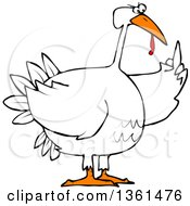 Cartoon Angry Chubby White Thanksgiving Turkey Bird Holding Up A Middle Finger
