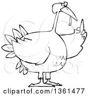 Clipart Of A Cartoon Black And White Angry Chubby Thanksgiving Turkey Bird Holding Up A Middle Finger Royalty Free Vector Illustration