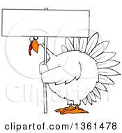 Clipart Of A Cartoon Chubby White Thanksgiving Turkey Bird Holding A Blank Sign Royalty Free Vector Illustration