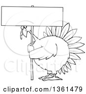Clipart Of A Cartoon Black And White Chubby Thanksgiving Turkey Bird Holding A Blank Sign Royalty Free Vector Illustration