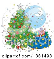 Clipart Of A Cartoon Crescent Moon And Stars Around A Christmas Tree And Santas Sack Royalty Free Vector Illustration