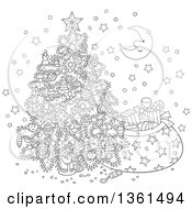Clipart Of A Cartoon Black And White Crescent Moon And Stars Around A Christmas Tree And Santas Sack Royalty Free Vector Illustration
