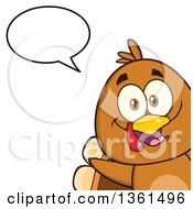 Clipart Of A Cartoon Cute Thanksgiving Turkey Bird Peeking Out From A Corner And Talking Royalty Free Vector Illustration