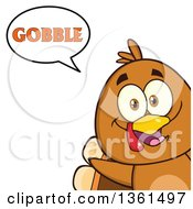 Clipart Of A Cartoon Cute Thanksgiving Turkey Bird Peeking Out From A Corner And Saying Gobble Royalty Free Vector Illustration