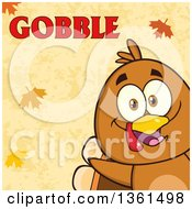 Clipart Of A Cartoon Cute Thanksgiving Turkey Bird Peeking From A Corner Over Autumn Leaves And Gobble Text Royalty Free Vector Illustration by Hit Toon