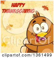 Clipart Of A Cartoon Cute Thanksgiving Turkey Bird Peeking From A Corner Over Autumn Leaves And Happy Thanksgiving Text Royalty Free Vector Illustration by Hit Toon