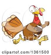 Cartoon Thanksgiving Turkey Bird Super Bowl Football Player Running