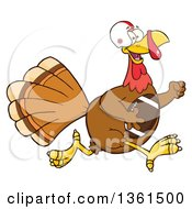 Clipart Of A Cartoon Thanksgiving Turkey Bird Super Bowl Football Player Running Royalty Free Vector Illustration