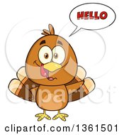 Clipart Of A Cartoon Cute Thanksgiving Turkey Bird Saying Hello Royalty Free Vector Illustration by Hit Toon