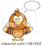 Clipart Of A Cartoon Cute Thanksgiving Turkey Bird Talking Royalty Free Vector Illustration by Hit Toon
