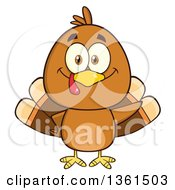 Clipart Of A Cartoon Cute Thanksgiving Turkey Bird Waving Royalty Free Vector Illustration