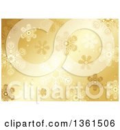 Clipart Of A Christmas Background Of Snowflakes On Gold Royalty Free Vector Illustration by dero