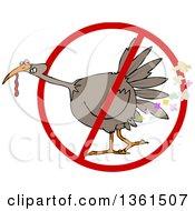 Cartoon Brown Thanksgiving Turkey Bird Farting In A Restricted Symbol