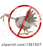 Clipart Of A Cartoon Brown Thanksgiving Turkey Bird Farting In A Restricted Symbol Royalty Free Vector Illustration by djart