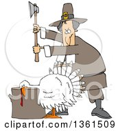 Cartoon Pilgrim Ready To Chop The Head Off Of A White Thanksgiving Turkey Bird Laying His Head On A Chopping Block