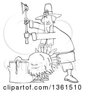 Clipart Of A Cartoon Black And White Pilgrim Ready To Chop The Head Off Of A Thanksgiving Turkey Bird Laying His Head On A Chopping Block Royalty Free Vector Illustration