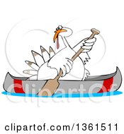 Clipart Of A Cartoon White Thanksgiving Turkey Bird Canoeing Royalty Free Vector Illustration