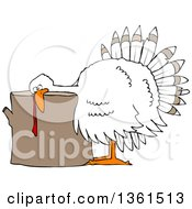 Clipart Of A Cartoon White Thanksgiving Turkey Bird Laying His Head On A Chopping Block Royalty Free Vector Illustration by Dennis Cox