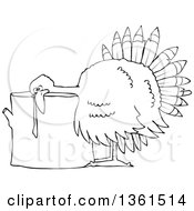 Clipart Of A Cartoon Black And White Thanksgiving Turkey Bird Laying His Head On A Chopping Block Royalty Free Vector Illustration