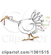 Cartoon White Thanksgiving Turkey Bird Farting