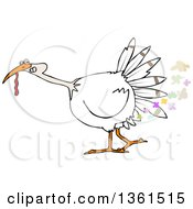 Clipart Of A Cartoon White Thanksgiving Turkey Bird Farting Royalty Free Vector Illustration by Dennis Cox