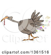 Clipart Of A Cartoon Brown Thanksgiving Turkey Bird Farting Royalty Free Vector Illustration