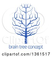 Clipart Of A Gradient Blue Brain Canopied Tree Over Sample Text Royalty Free Vector Illustration