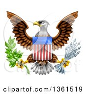 Clipart Of The Great Seal Of The United States Bald Eagle With An American Flag Shield Holding An Olive Branch And Silver Arrows Royalty Free Vector Illustration by AtStockIllustration