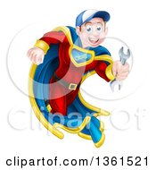 Clipart Of A Young Brunette Caucasian Male Super Hero Mechanic Running With A Wrench Royalty Free Vector Illustration