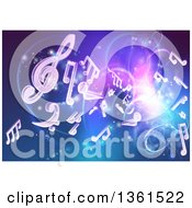 Clipart Of A Blue And Purple Background Of Bright Neon Lights Flares And Floating Music Notes Royalty Free Vector Illustration by AtStockIllustration