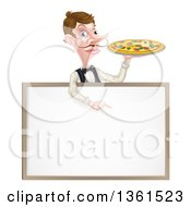 Cartoon Caucasian Male Waiter With A Curling Mustache Holding A Pizza On A Tray And Pointing Down Over A Blank White Menu Sign Board