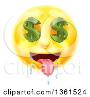 3d Drooling Yellow Male Smiley Emoji Emoticon Face With Dollar Symbol Eyes