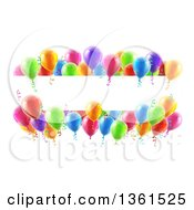 Clipart Of A Blank White Banner Signs Bordered In 3d Colorful Party Balloons And Confetti Royalty Free Vector Illustration